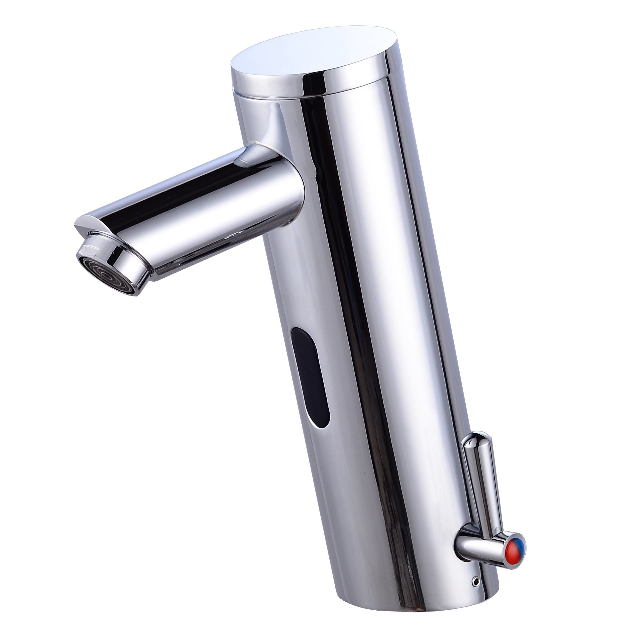 Gangang Home Deck Mount Touch Free Automatic Sensor Sink Faucet with Temperature Control Handle Chrome Single Hole Straight Spout Bar Faucet Lavatory Plumbing Fixtures Bathtub Mixer Taps by Gangang