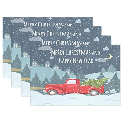 Vintage Red Truck Christmas Placemats.Amazon Com Christmas Red Truck Car Tree Placemats Table
