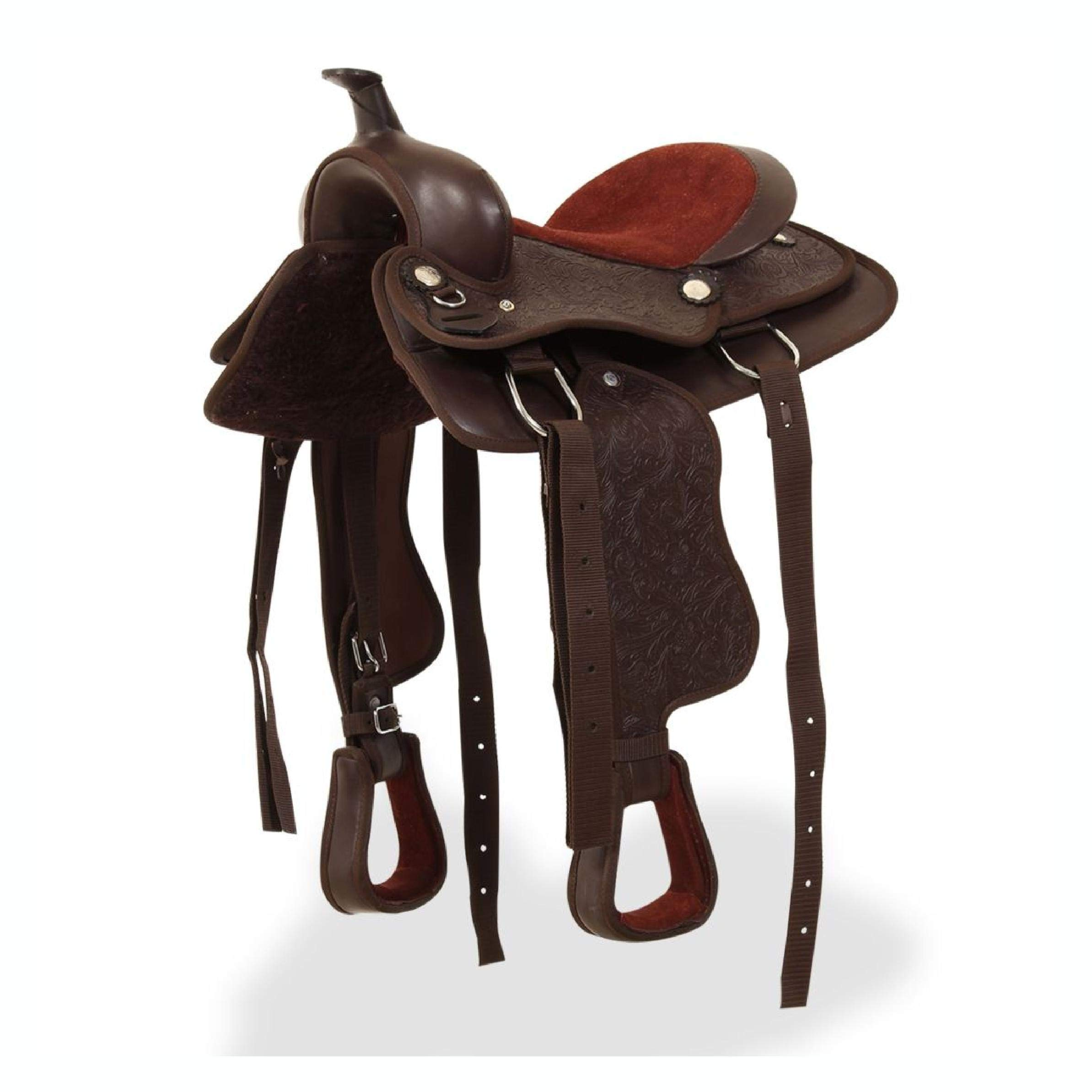 Saddle, Western Saddle, Headstall&Breast Collar Real Leather 13'' Brown