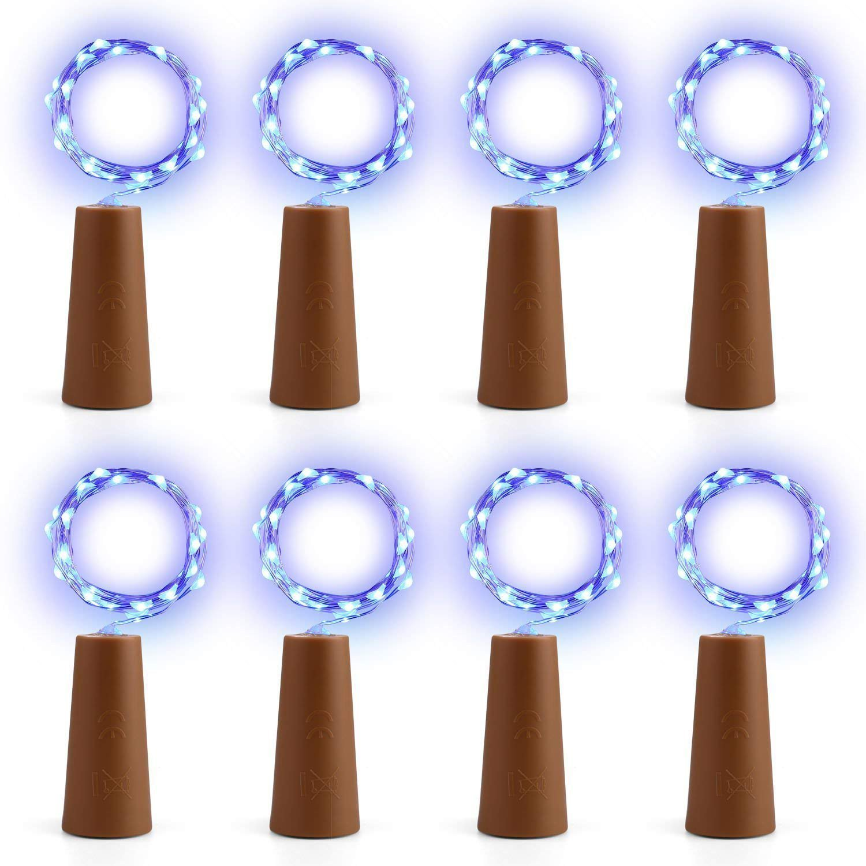 EXQUILEG 10 x 20 LEDs 2M Flaschen-Licht, LED Lichterketten Weinflasche Mini Kupferdraht, Sternenlichter für Flasche DIY, Party, Dekor, Weihnachten, Hochzeit (Grün) Hochzeit (Grün)