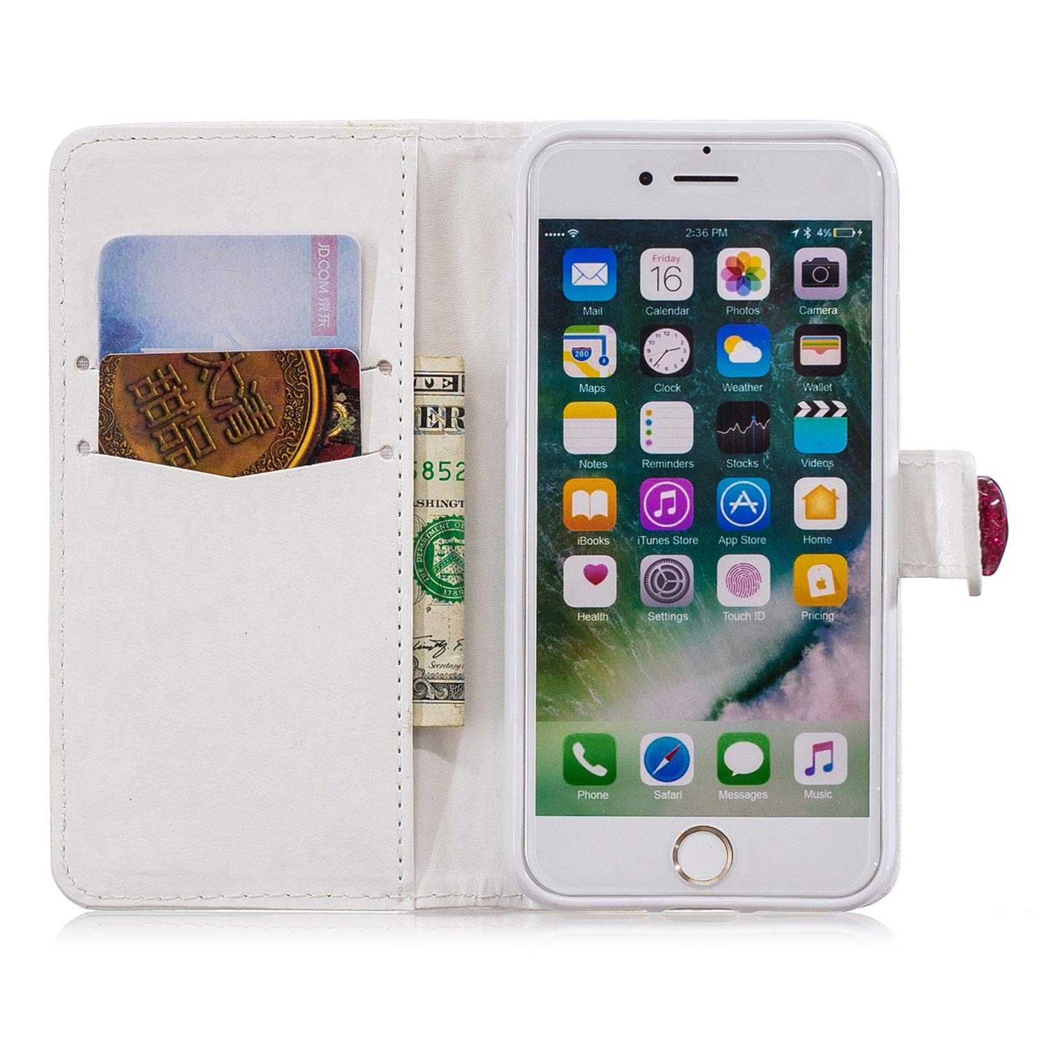 buy popular 02d17 60238 Yobby iPhone 7 Wallet Case,iPhone 8 Diamond Purse Case 3D Bling Floating  Glitter Cute Heart White PU Leather Flip Cover with Card Holder Stand ...