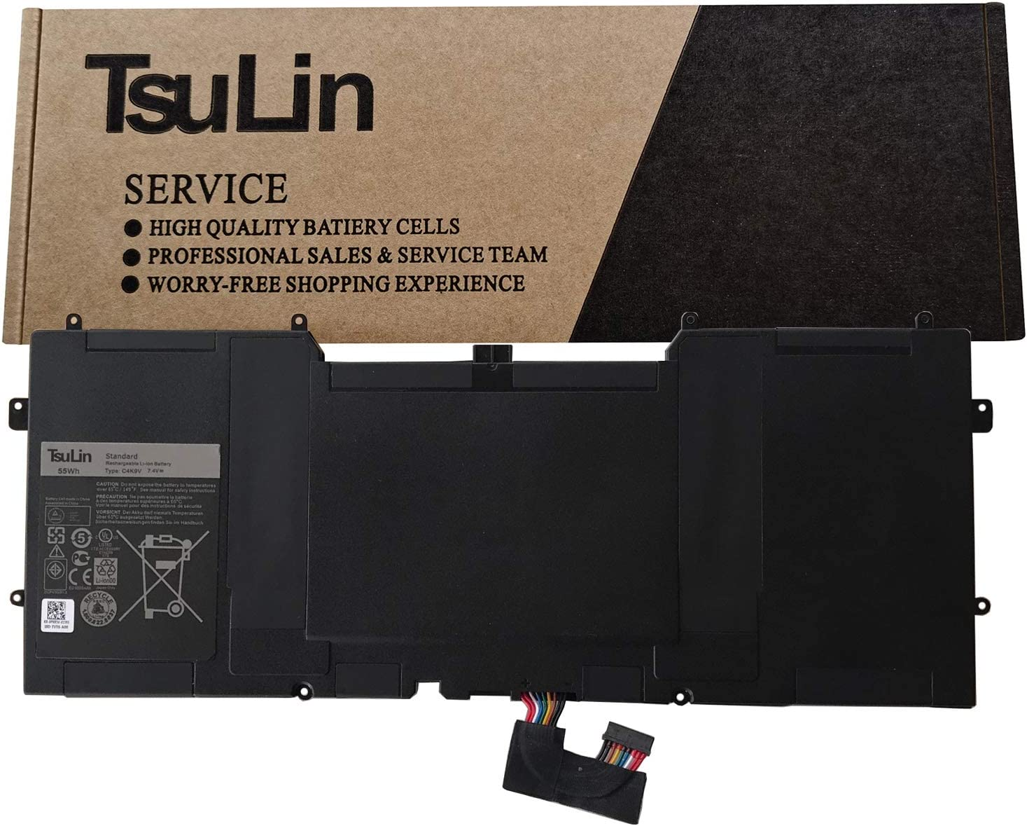 TsuLin C4K9V Laptop Battery Replacement for Dell XPS 12 9Q33 -L221X 13 9333 Ultrabook 13 XPS13 13-L321X 13-L322X XPS L321X L322X Series Notebook 3H76R 489XN PKH18 7.4V 55Wh