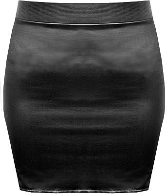 Lush Clothing B37-Black Wet Look Shinny Faux Leather Short Mini ...