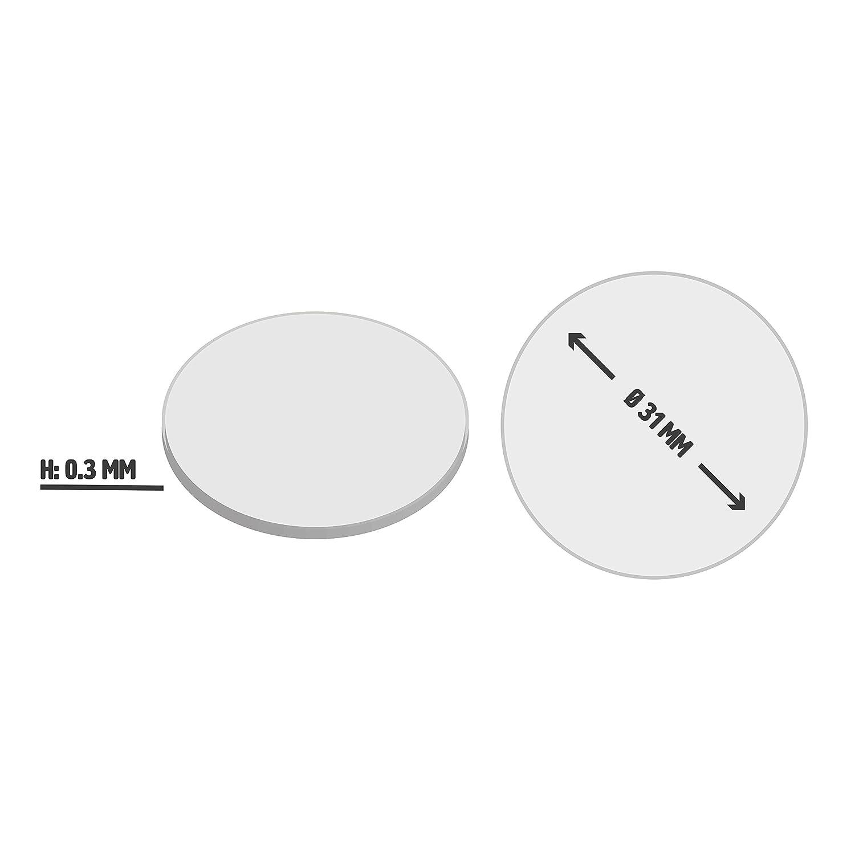 adesivi e magnetici 31/mm di diametro, 0,3 mm di altezza Dischetti di metallo tondi