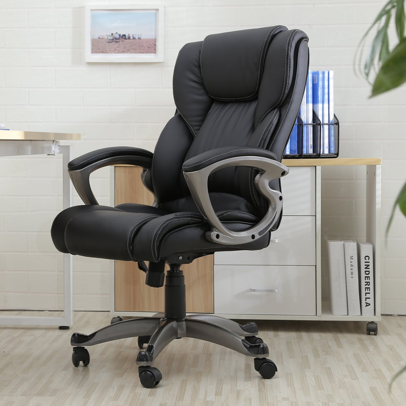 leather desk chairs. Amazon.com: Belleze High Back Executive PU Leather Office Chair, Black: Home \u0026 Kitchen Desk Chairs