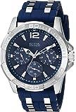 ゲス GUESS Men's U0366G2 Iconic Multi-Function Silver-Tone Watch with Blue Silicone Strap [並行輸入品]