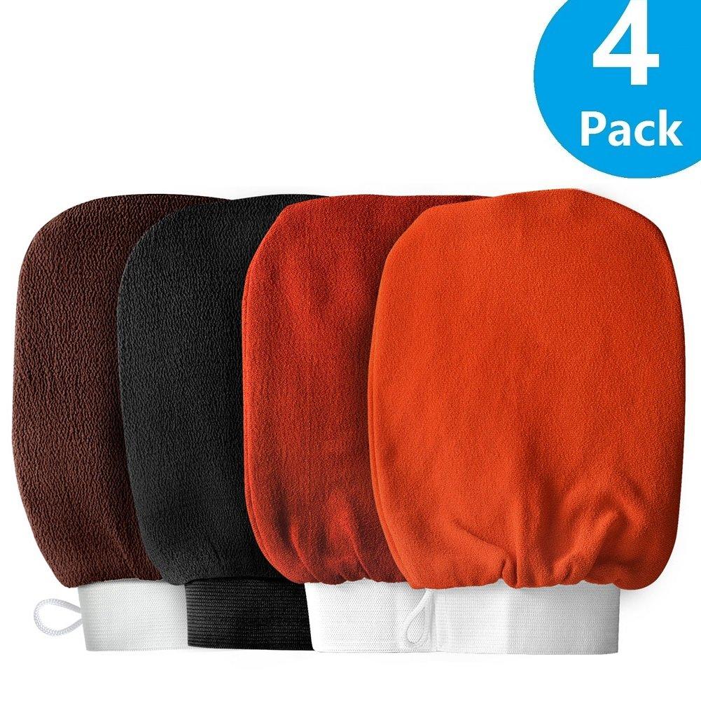 FBasics 4 Pack Exfoliating Hammam Gloves Mitten Remove Dead Skin Bath Body Scrub Mitt, Deep Exfoliation Glove Skin Exfoliator Mitt.