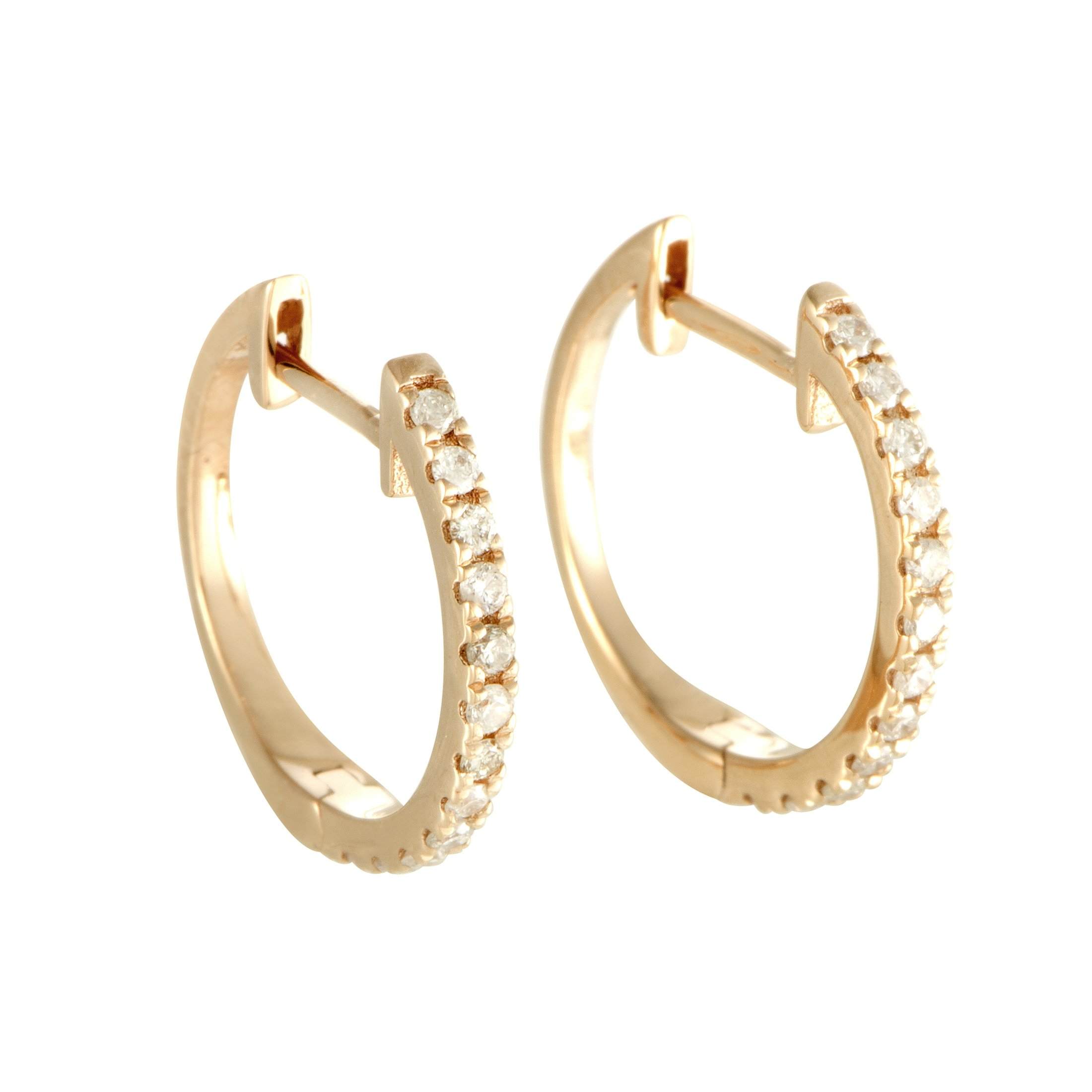 Stunning 0.22 Carats (ctw) Diamond Hoop Earrings in 14K Yellow Gold; 1/4 CT Brilliant White Diamonds (G Color, SI1-SI2 Clarity) in 0.5'' Hoops (yellow-gold, 0.20)