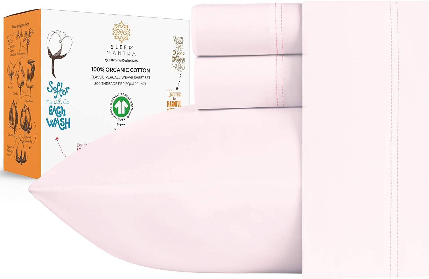 Details about  /Glorious Bedding Fitted Sheet Set Deep Pocket Organic Cotton Cal King All Color