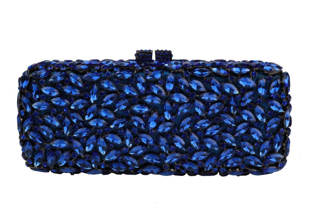 YILONGSHENG Long Style Crystal Clutch Bags For Women EB0553 Blue by YILONGSHENG