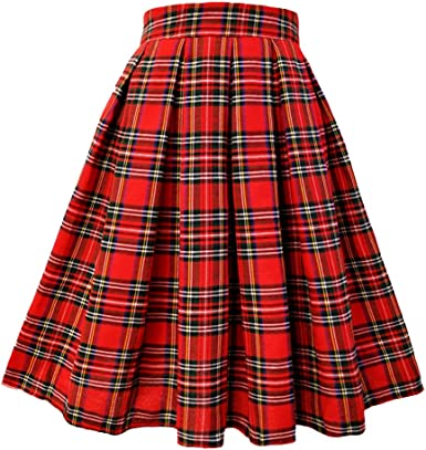 Girls High Waist A Line Flared Pleated Skater Retro Swing Black Plaid Skirts