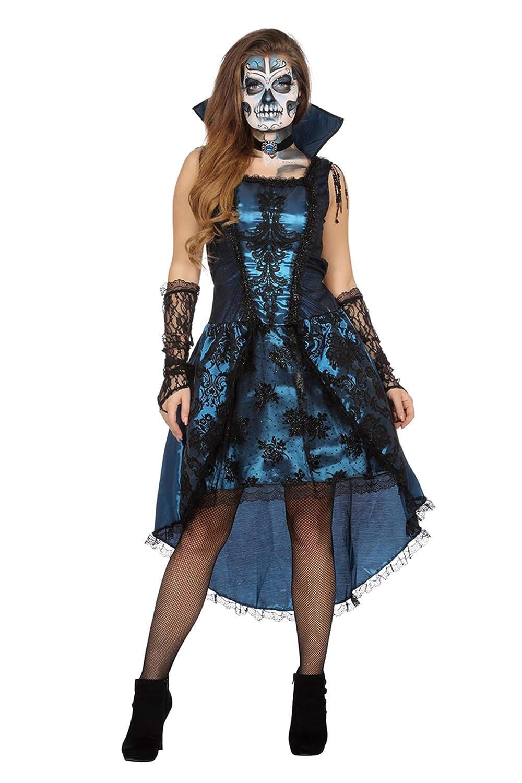 Wilbers Vampirkostüm Kostüm Vampir Damen Halloween Horror Dracula GRAF Damenkostüm 34-48 Blau/Schwarz S (36/38)