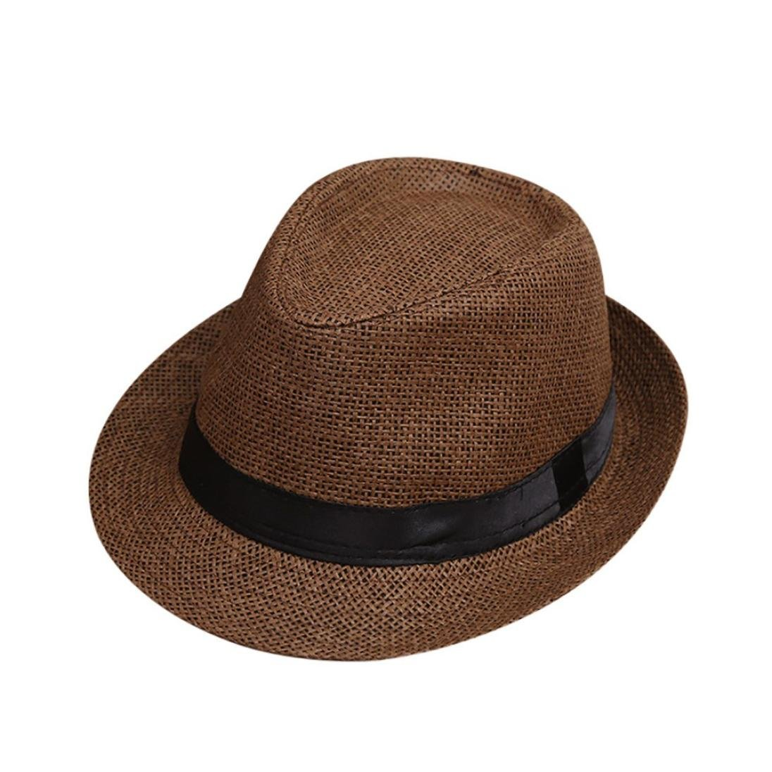 AIMTOPPY HOT, Children Kids Summer Beach Straw Hat Jazz Panama Trilby Fedora Hat Gangster Cap (free, coffee)