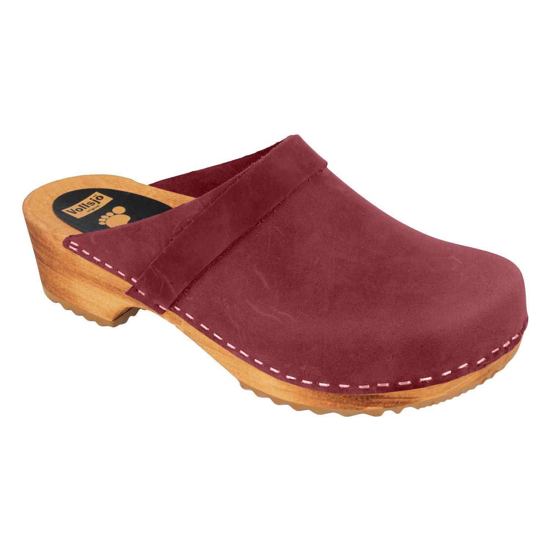 Vollsj/ö Mens Genuine Leather Wooden Clogs Made In EU