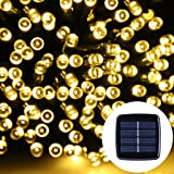 Solar Fairy lights, NockNock Solar Powered 39ft 12m 100 LED Waterproof Fairy String Lights for Wedding Christmas Party Holiday Lawn Patio Indoor and Outdoor Use - Warm White