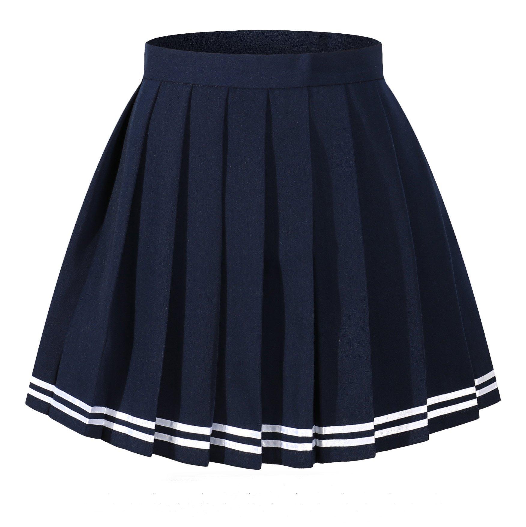 Women`s Versatile White stripes scottish Pleated Summer Skirts (M,Blue white striple )