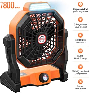 Outdoor Camping Fan Portable Fan Rechargeable, 9-inch 7800mAH Battery Operated Powered Personal USB Fan with LED Lantern Stepless Adjustable Speed Fan for Home, Office, Tent, Travel