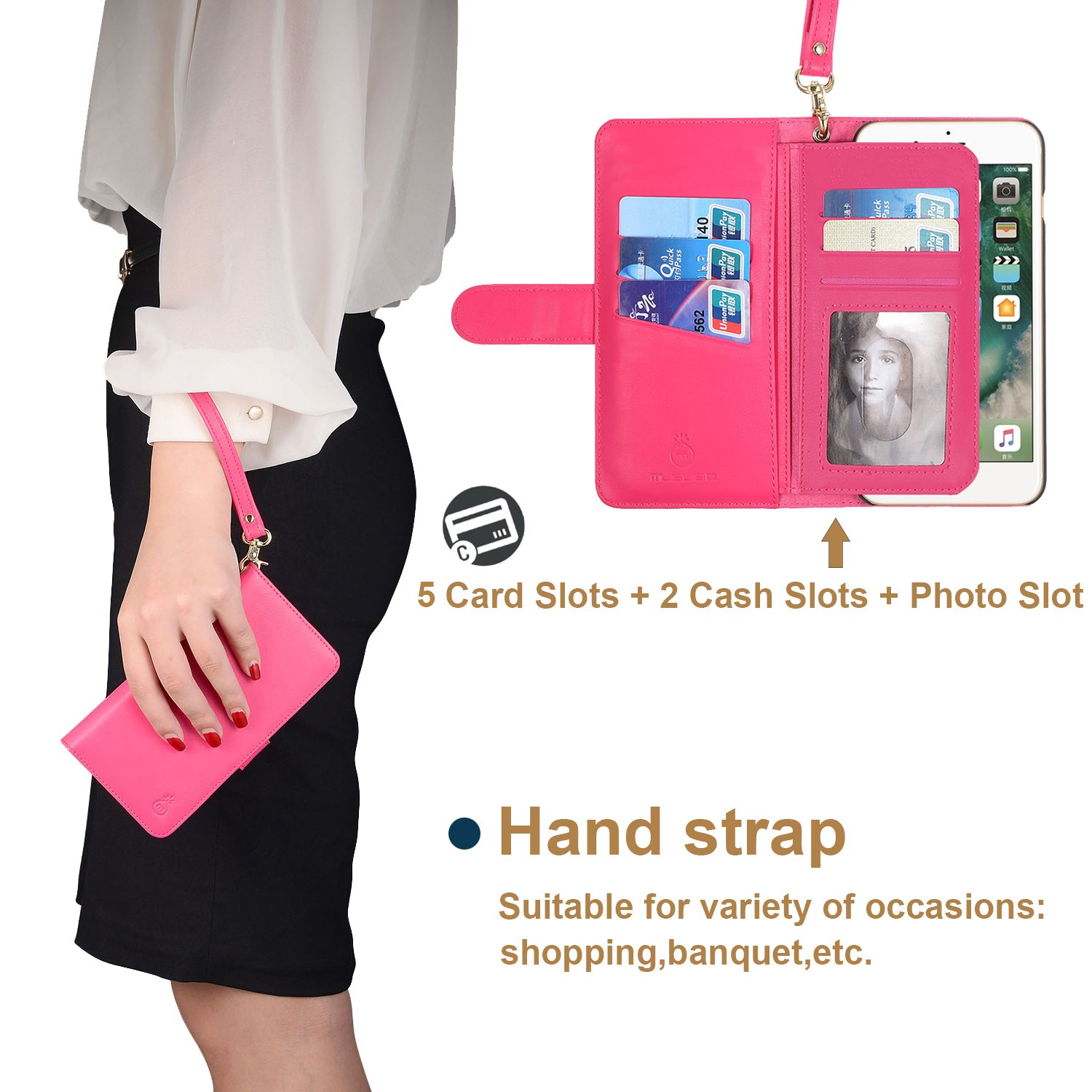 2 in 1 iPhone 7 iPhone 8 Case Wallet Folio Flip PU Leather Case Magnetic Detachable Inner Shell and Slim Back Cover Card Holder Slot Wrist Strap for iPhone 7 iPhone 8 4.7 inch (Hot Pink-7/8)