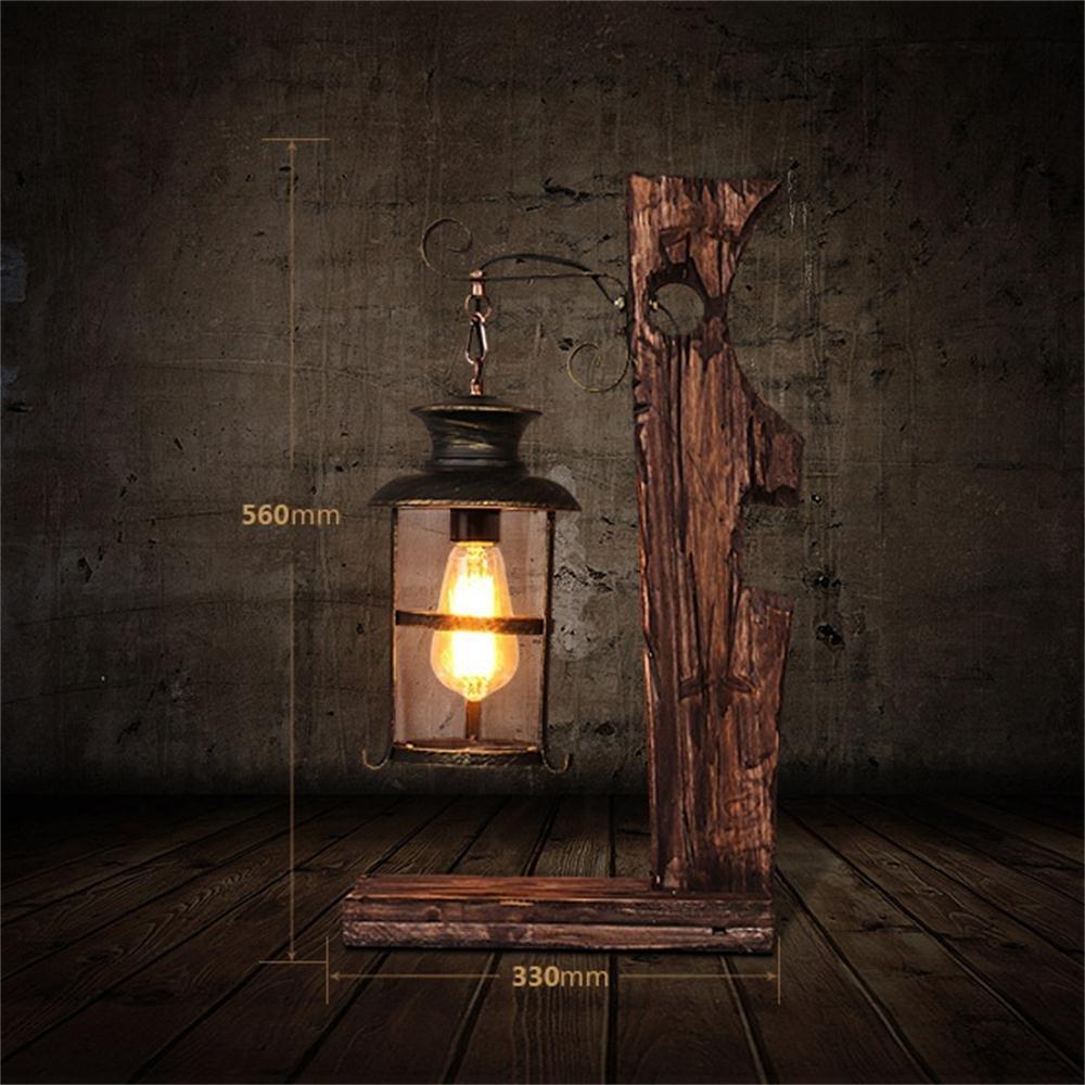 GBT Amerikanische Persönlichkeit Retro Nostalgie Loft Cafe Wohnzimmer Schlafzimmer Nacht Kreative Dekorative Kunst aus Holz Tischlampe