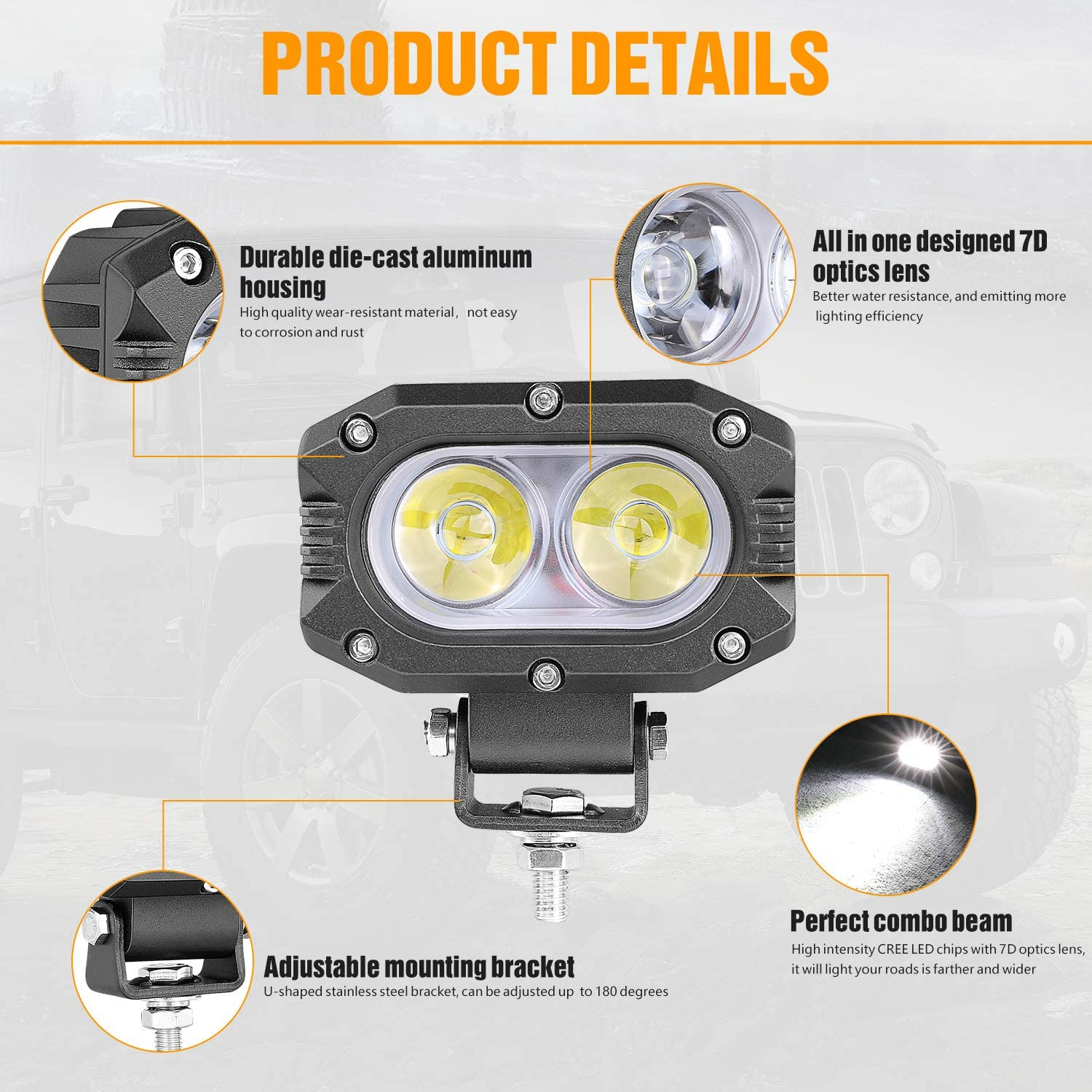 -Chrome 6 inch Driver side WITH install kit 2009 Kenworth OFF HIGHWAY Side Roof mount spotlight LED
