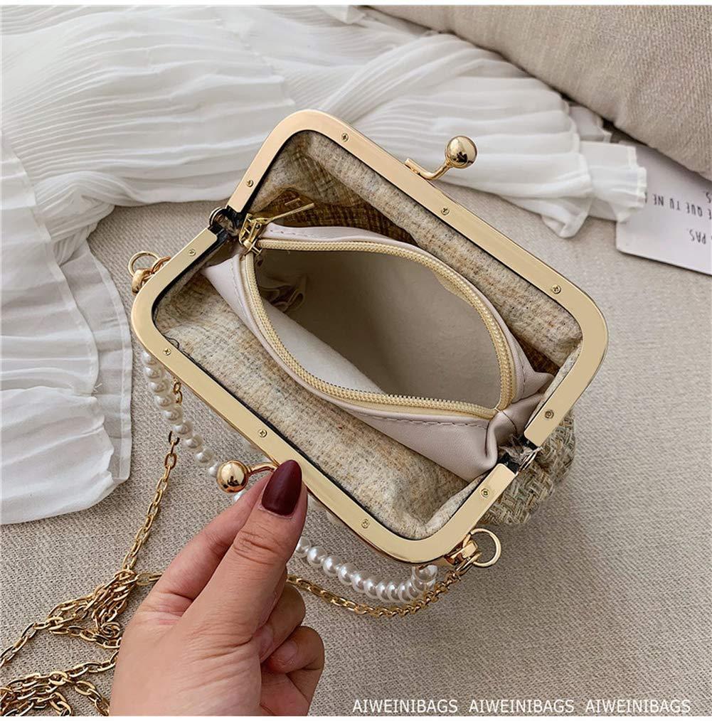 Ogquaton Sac /à main en perles pour dame avec sac en paille
