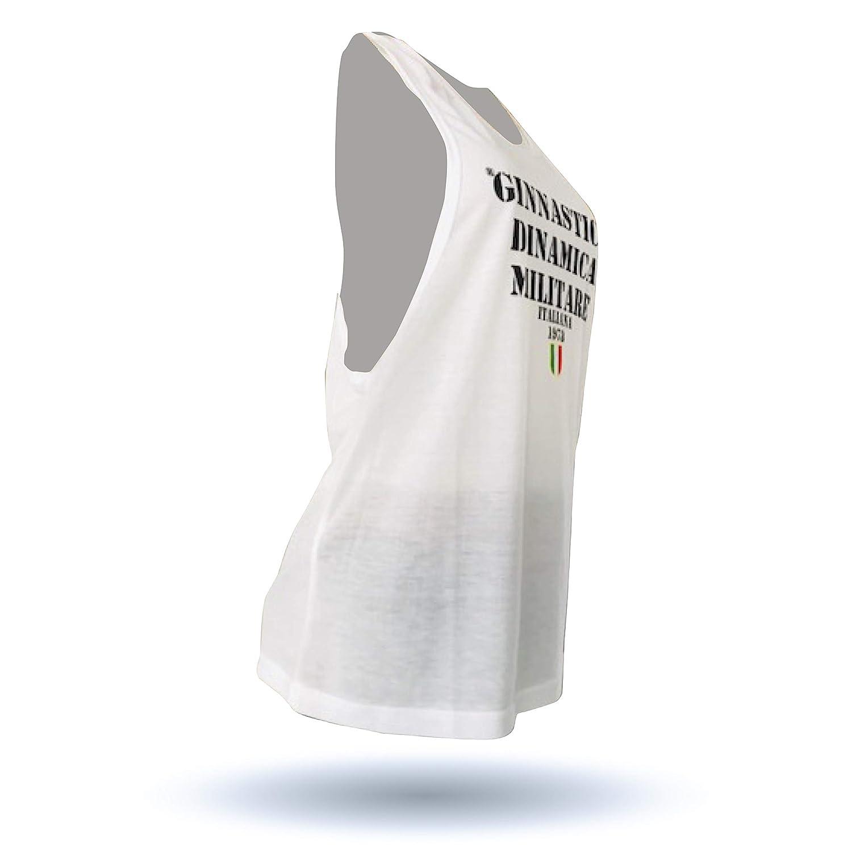 GDM GINNASTICA DINAMICA MILITARE Canotta Smanicata Unisex Bianca con Logo GDM Frontale Nero One Size
