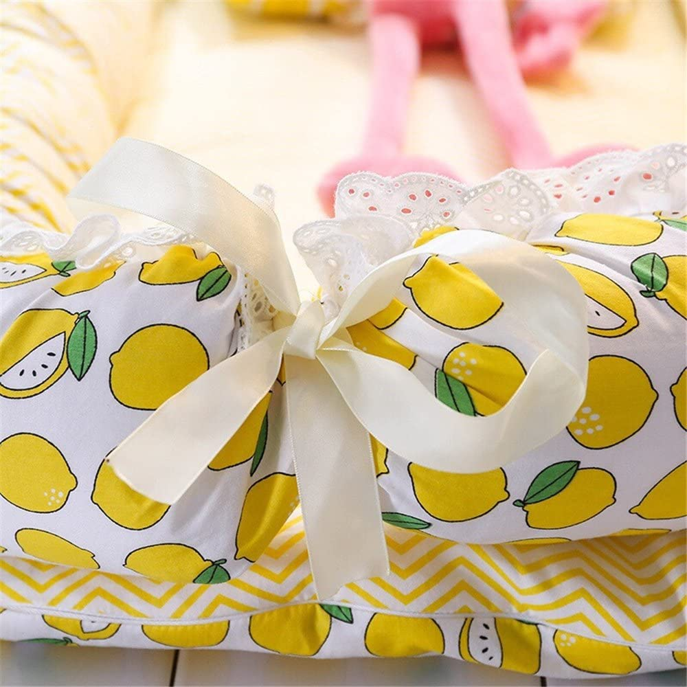 Lemon WINLIFE Baby Bassinet for Bed Portable Baby Lounger for Newborn,100/% Cotton Portable Crib