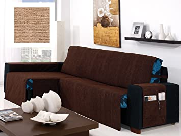 textil-home Funda Cubre Sofá Chaise Longue KIOTO, Brazo Izquierdo. Tamaño -280cm. Color Beig