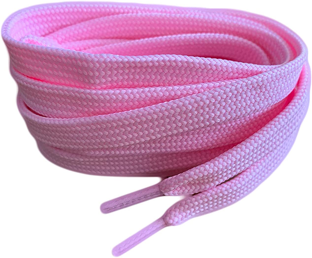 Pale Pink Coloured Flat Shoe Laces For