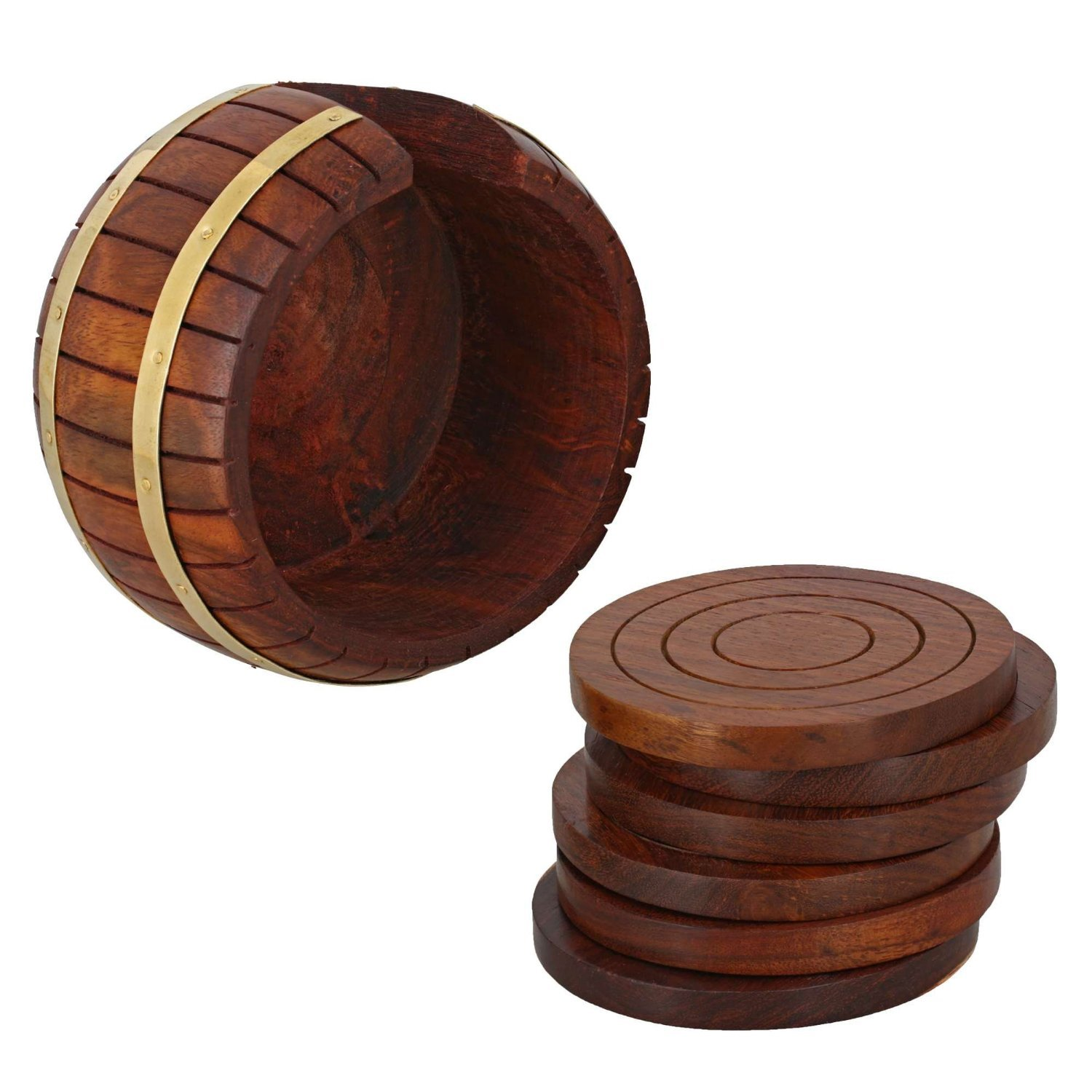 Set of 6 Drink Coaster Suitable for Wine Glasses Whiskey Glasses and Any Hot and Cold Drinks Beer Bottles Handmade Barrel Shaped Wooden Tea Coaster