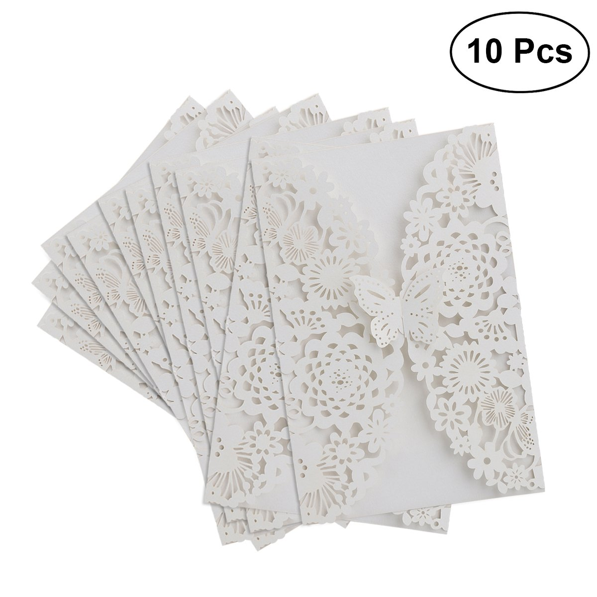 LUOEM invitaciones de boda - 10pcs vertical Laser Cut mariposa Invitaciones Kits de tarjetas para bodas nupcial ducha Cumpleaños con papel de cinta y sobres (blanco)