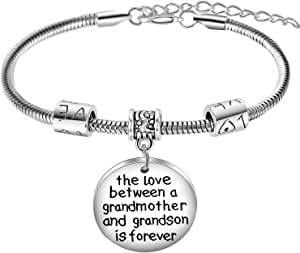 Nimteve Grandma Gifts from Grandson The Love Between A Grandmother and Grandson is Forever Charm Bracelet