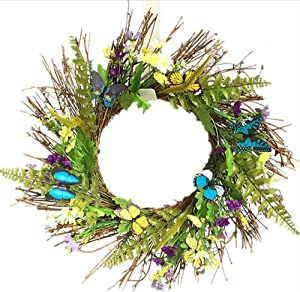 UNIE Spring Door Wreath, Decorative Summer Daisy Wreath with Butterfly and Green Leaves for Front Door Wall Wedding Decorations (50cm/19inch)