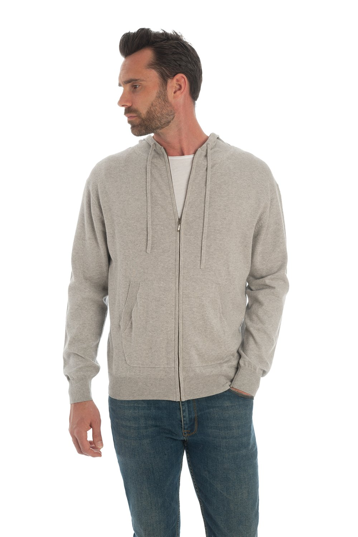 Adorawool - Mens Luxury Cotton & Cashmere - Lightweight Hooded Cardigan Sweater - Zipper - S/XL