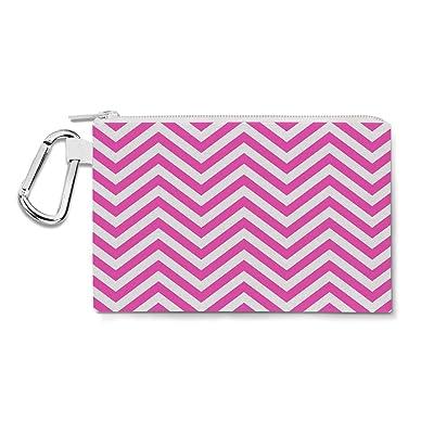 Chevron Stripes Hot Pink - 2XL Canvas Pouch 13x10 inch - Canvas Zip Pouch - Multi Purpose Pencil Case Bag in 6 sizes