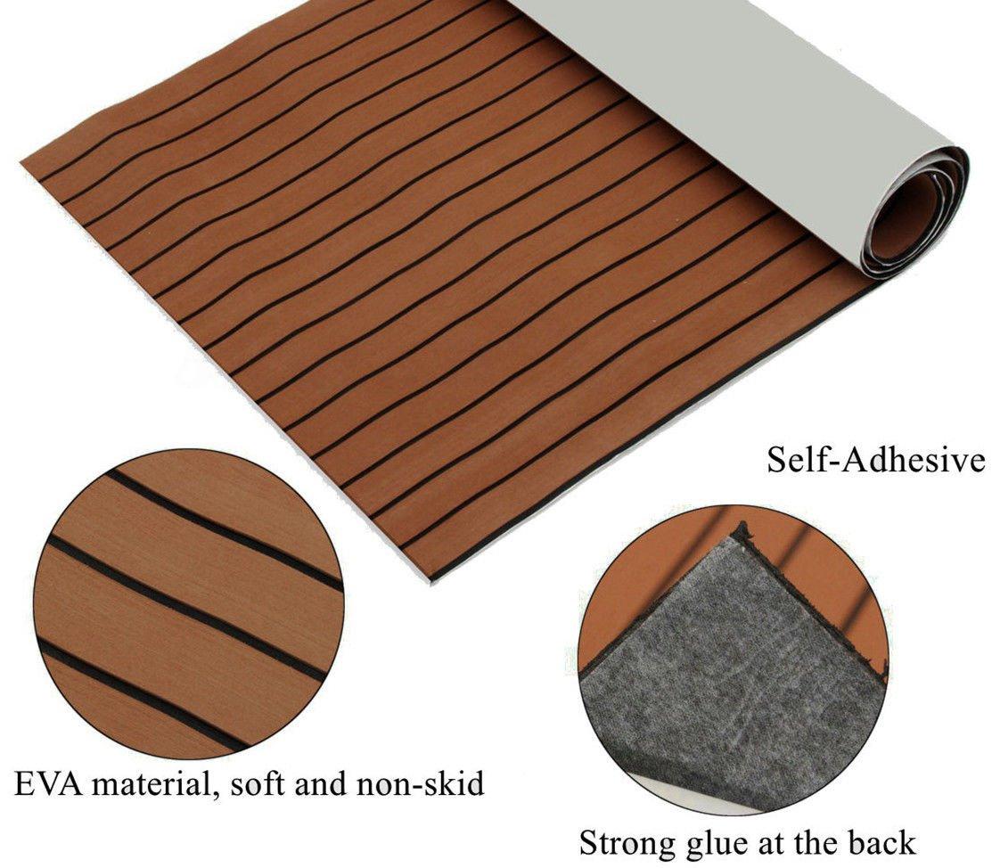 94.5''X47.2''/240CM X 120CM Self-Adhesive EVA Foam Pad Teak Sheet Marine Flooring Yacht Boat Decking by KUNHEWUHUA