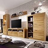 Pharao24 Wohnzimmer Schrankwand aus Eiche geölt 200 cm hoch LED ...