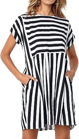 Elegant Stripe Print Dress Women O-neck Short Sleeve Tunic A-line Dresses L/&6