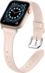 Liwin Leather Band Compatible with Apple Watch SE Series 6 Band 44mm 42mm 40mm 38mm, Genuine Slim Leather Replacement Wristbands Bracelet Classic Strap for iWatch SE 6/5/4/3/2/1(Beige, 38/40mm)