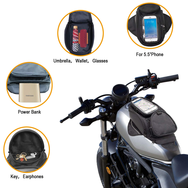 Impermeable Oxford Saddle Negro Bolsas para dep/ósito Motocicleta Bolsa de Tanque de Motocicleta Universal Fuerte Bolsa magn/ética para Honda Yamaha Suzuki Kawasaki Harley Dracarys