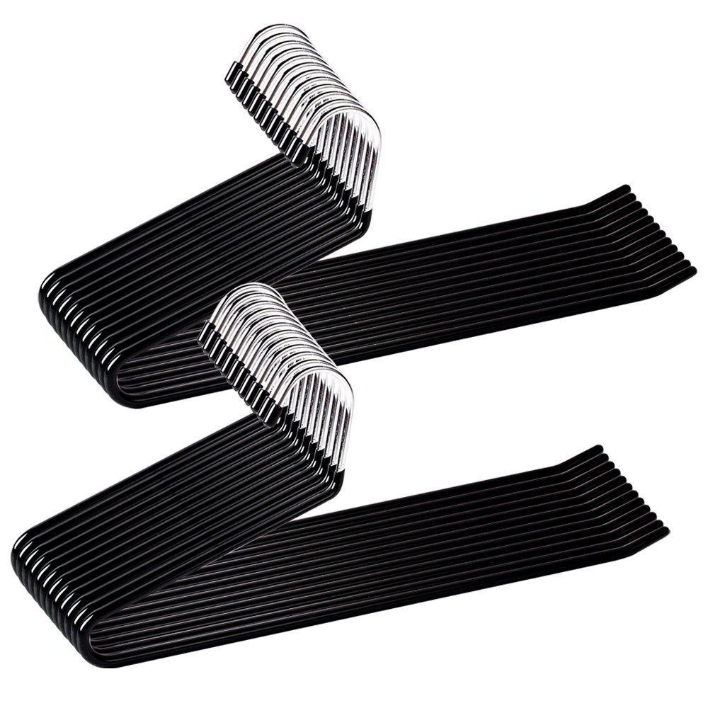 Ohuhu Set of 24 Heavy Duty Slacks/Trousers Hangers Open Ended PantsEasy Slide Organizers, Chrome and Black Friction product image