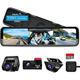 "PORMIDO Triple Mirror Dash Cam 12"" with Detached Front and in-Car Camera,Waterproof Backup Rear View Dashcam Anti Glare 1296P"