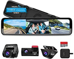 """PORMIDO Triple Mirror Dash Cam 12"""" with Detached Front and in-Car Camera,Waterproof Backup Rear View Dashcam Anti Glare 1296P"""