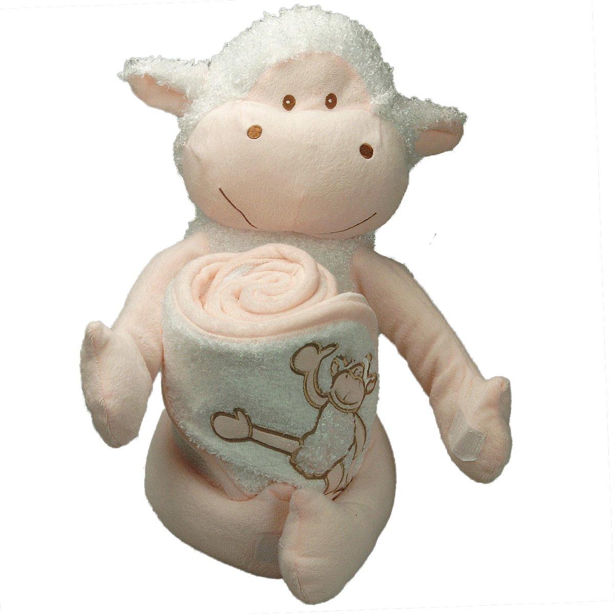 [PERSONNALISABLE] Doudou + Cape de bain bébé mouton personnalisée au prénom du bébé - [BRODERIE OFFERTE] dans toutes les langues Brodeway