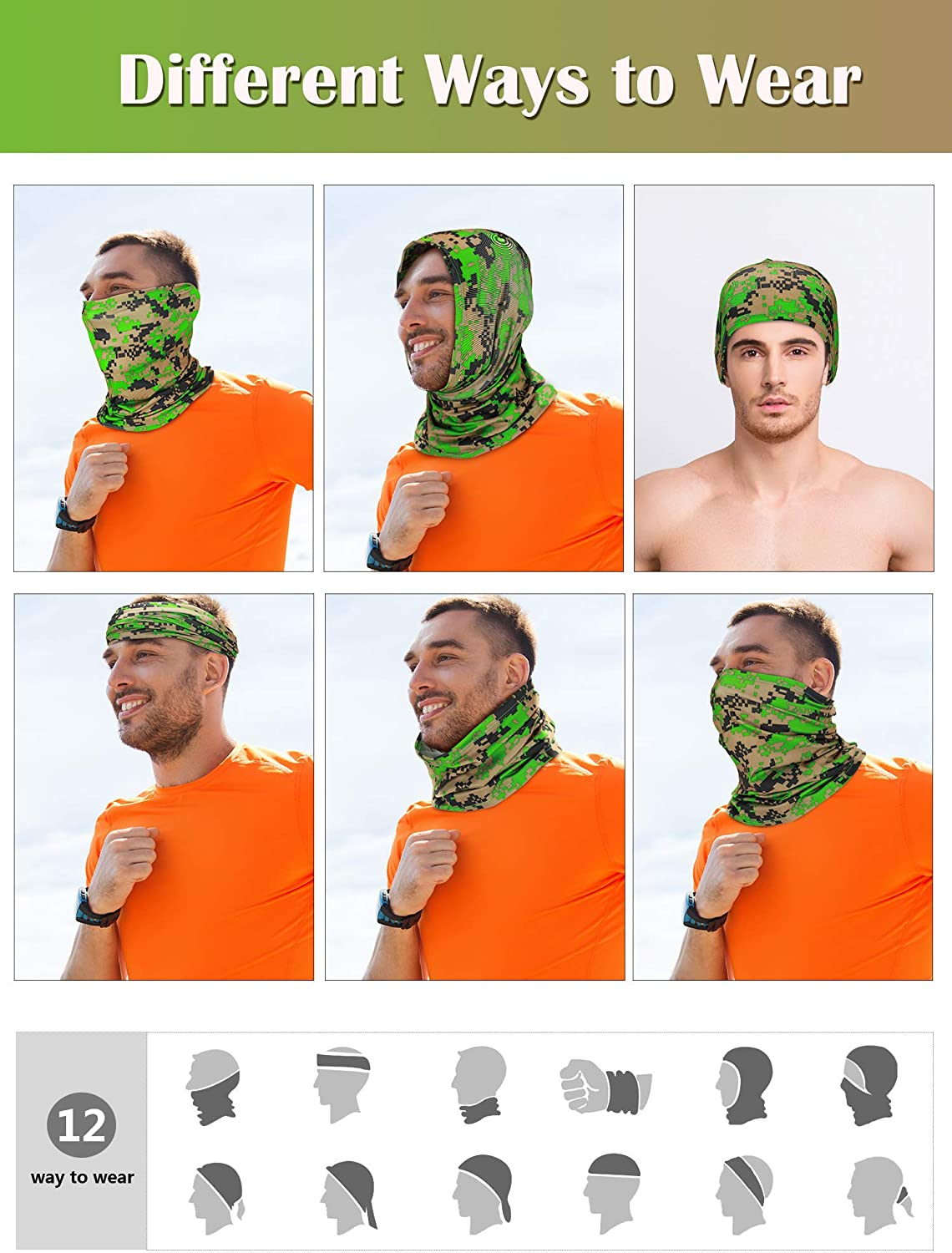 Hicarer 4 Pieces Summer Face Cover Bandana Breathable Neck Gaiter Elastic Face Cover Scarf UV Protection Bandana for Outdoor Driving Riding