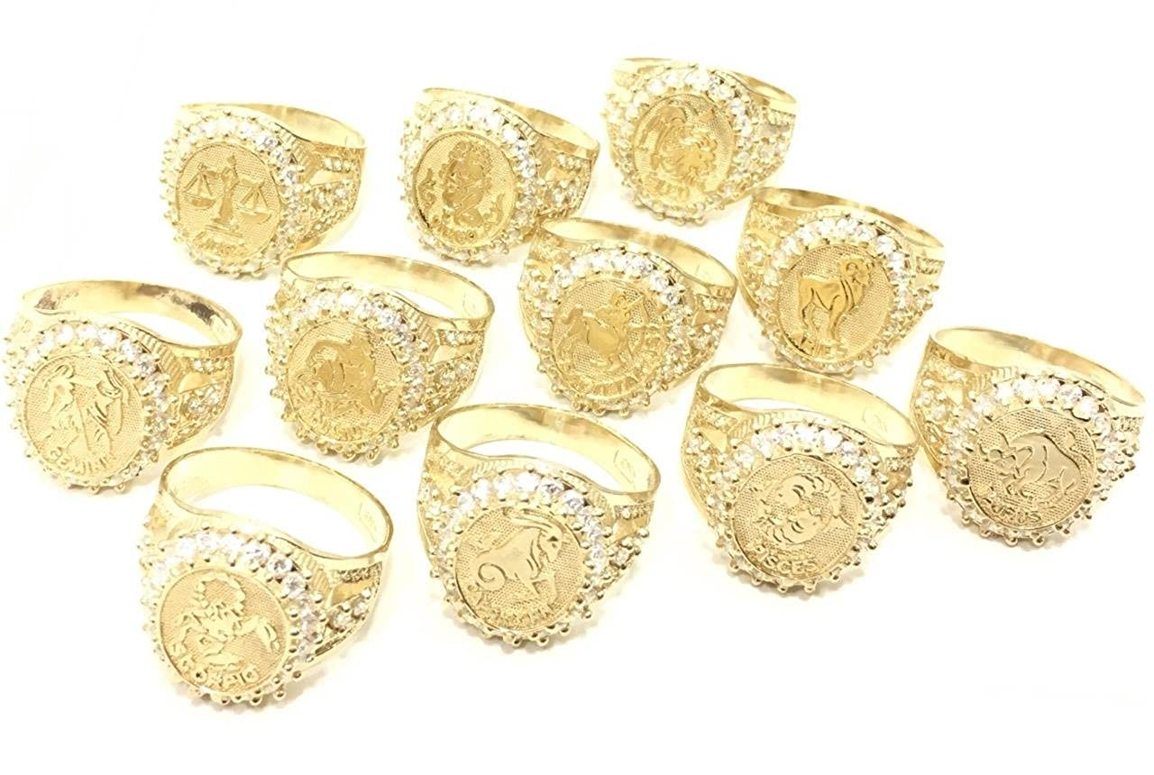 UNITEDEAL NEW 10K YELLOW GOLD 20 MM LONG LEO ZODIAC ASTROLOGY HIP HOP STYLE RING 7291