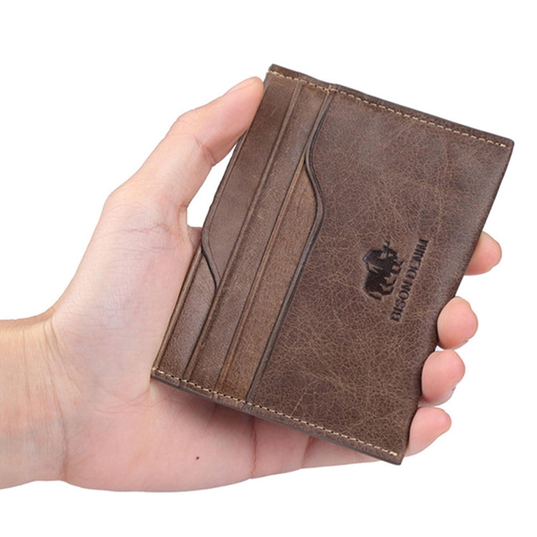 Bison Denim piel minimalista dinero clip bolsillo delantero tipo cartera para hombres mujeres: Amazon.es: Ropa y accesorios