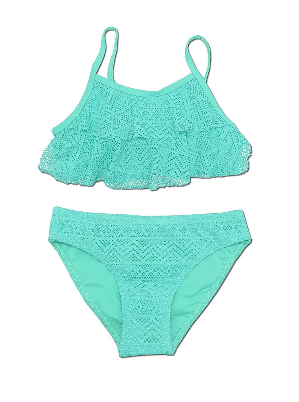 SHEKINI Girls Swimwear Flounce Crochet Two Piece Bikini Bathing Suits (Green, 10-12 Years)