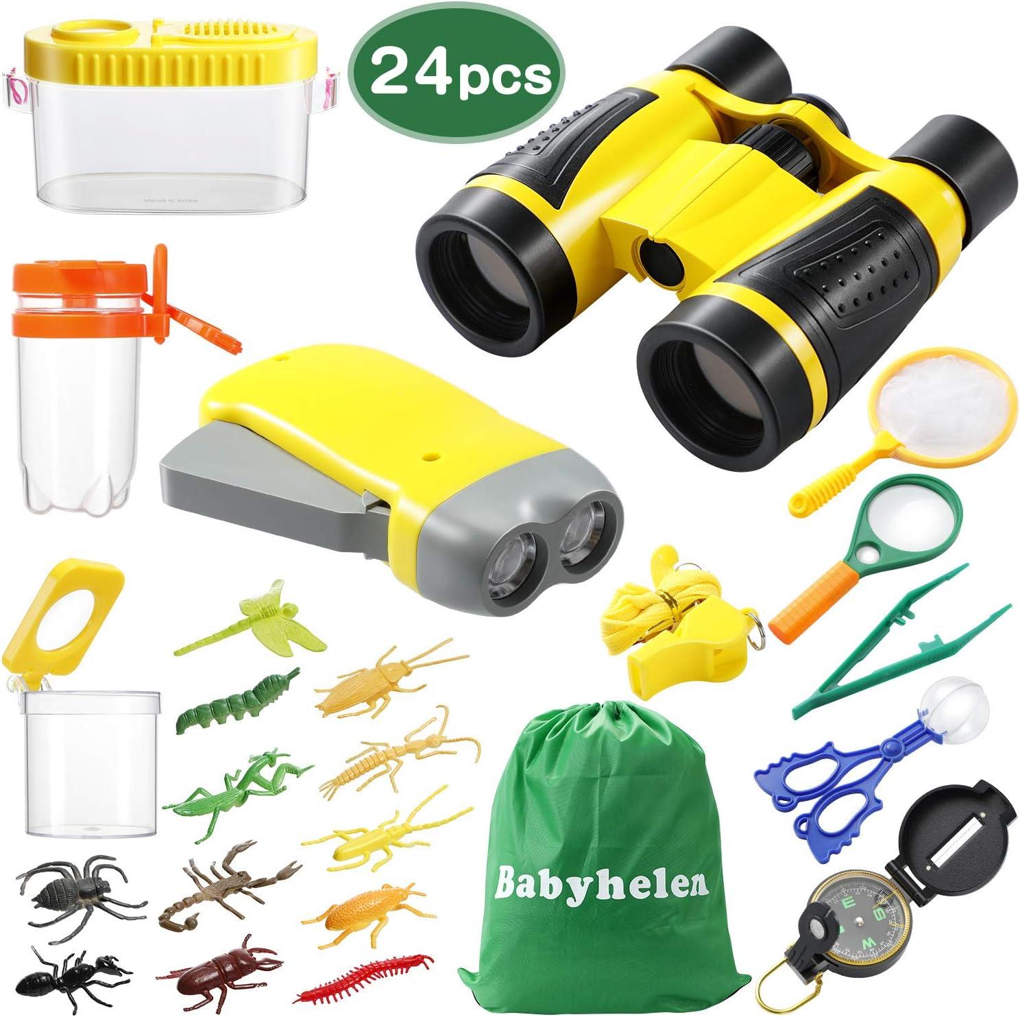 Babyhelen Kit de Explorador para Niños, Set de Juguetes al Aire Libre 24 Piezas, Kit Aventura con Binoculares Lupa para Acampada y Senderismo
