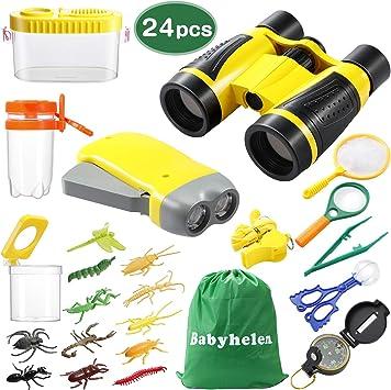 Babyhelen Kit de Explorador para Niños, Set de Juguetes al Aire Libre 24 Piezas, Kit Aventura con Binoculares Lupa para Acampada y Senderismo: Amazon.es: Juguetes y juegos